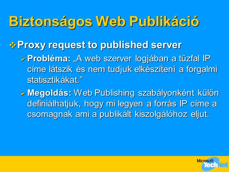 """Biztonságos Web Publikáció  Proxy request to published server  Probléma: """"A web szerver logjában a tűzfal IP címe látszik és nem tudjuk elkészíteni"""