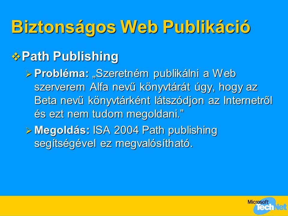 """Biztonságos Web Publikáció  Path Publishing  Probléma: """"Szeretném publikálni a Web szerverem Alfa nevű könyvtárát úgy, hogy az Beta nevű könyvtárkén"""