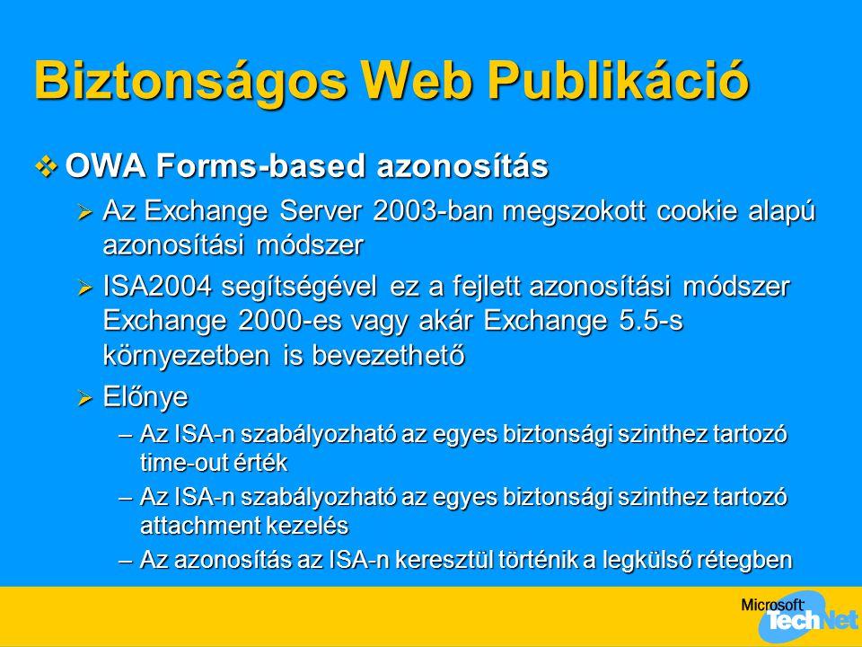 Biztonságos Web Publikáció  OWA Forms-based azonosítás  Az Exchange Server 2003-ban megszokott cookie alapú azonosítási módszer  ISA2004 segítségév