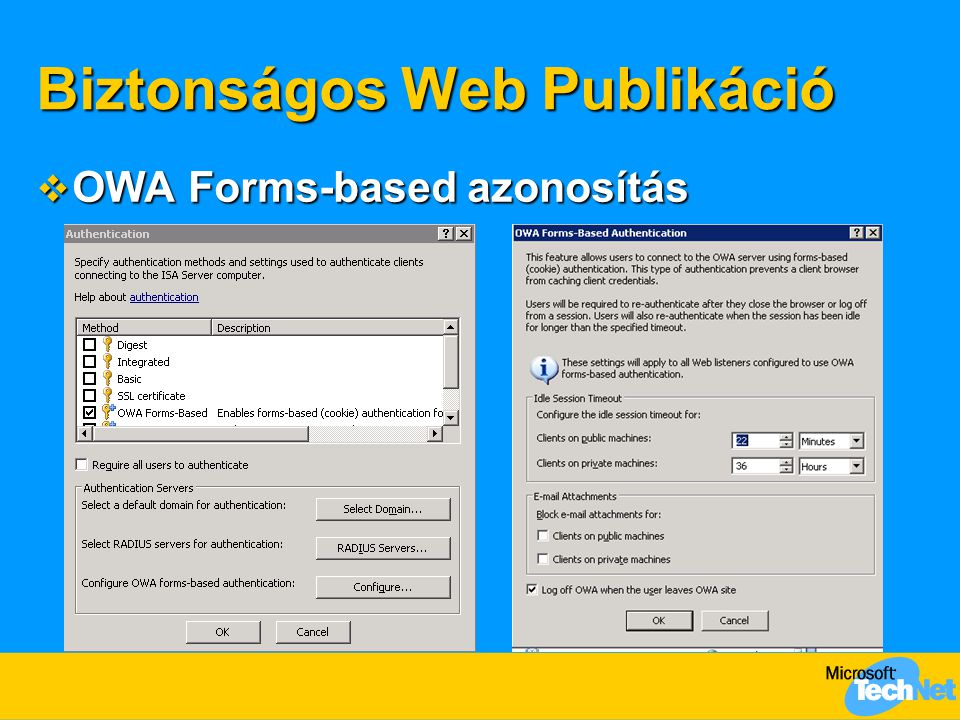 Biztonságos Web Publikáció  OWA Forms-based azonosítás