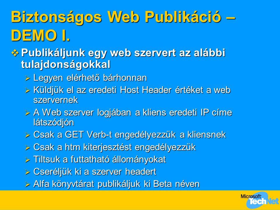 Biztonságos Web Publikáció – DEMO I.  Publikáljunk egy web szervert az alábbi tulajdonságokkal  Legyen elérhető bárhonnan  Küldjük el az eredeti Ho