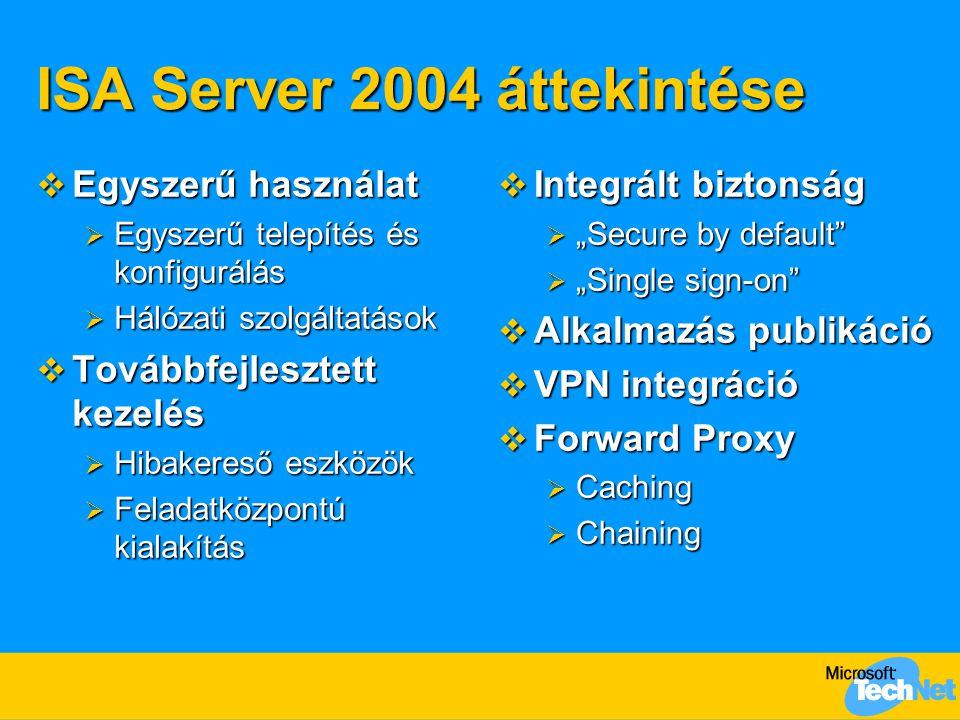 ISA Server 2004 áttekintése  Egyszerű használat  Egyszerű telepítés és konfigurálás  Hálózati szolgáltatások  Továbbfejlesztett kezelés  Hibakere