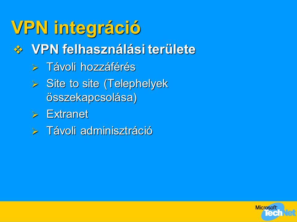 VPN integráció  VPN felhasználási területe  Távoli hozzáférés  Site to site (Telephelyek összekapcsolása)  Extranet  Távoli adminisztráció