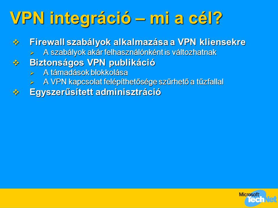 VPN integráció – mi a cél?  Firewall szabályok alkalmazása a VPN kliensekre  A szabályok akár felhasználónként is változhatnak  Biztonságos VPN pub