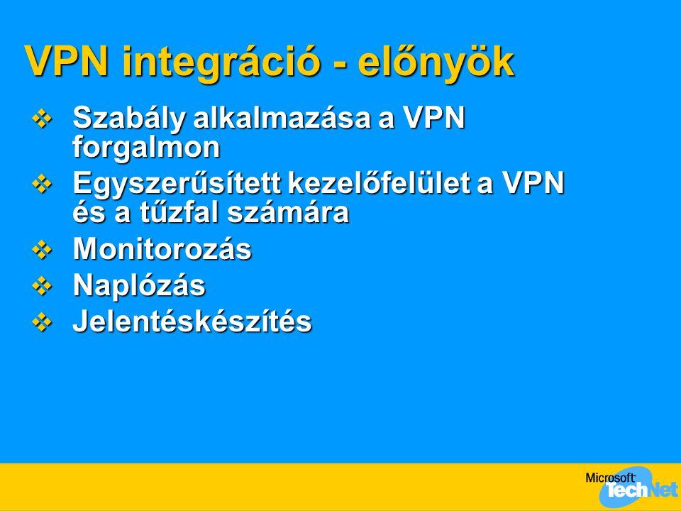 VPN integráció - előnyök  Szabály alkalmazása a VPN forgalmon  Egyszerűsített kezelőfelület a VPN és a tűzfal számára  Monitorozás  Naplózás  Jel