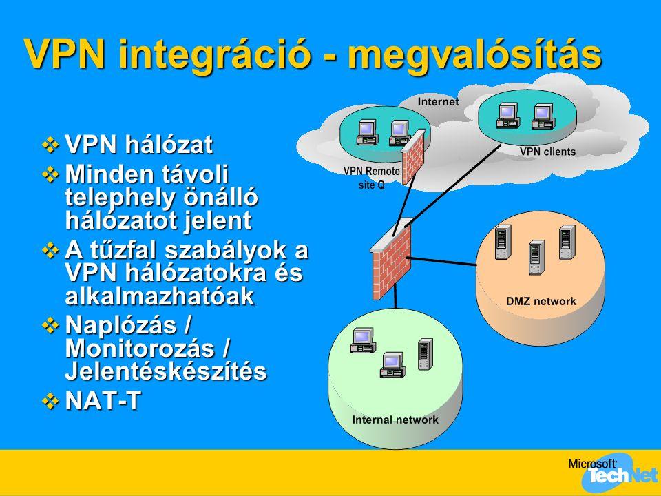 VPN integráció - megvalósítás  VPN hálózat  Minden távoli telephely önálló hálózatot jelent  A tűzfal szabályok a VPN hálózatokra és alkalmazhatóak