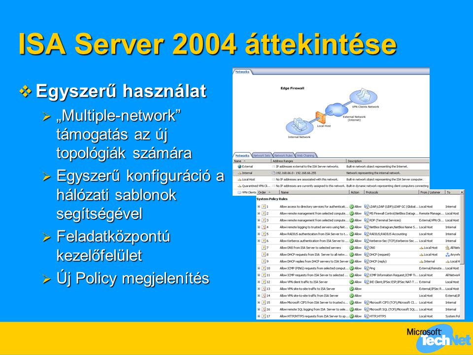 """ISA Server 2004 áttekintése  Egyszerű használat  """"Multiple-network"""" támogatás az új topológiák számára  Egyszerű konfiguráció a hálózati sablonok s"""