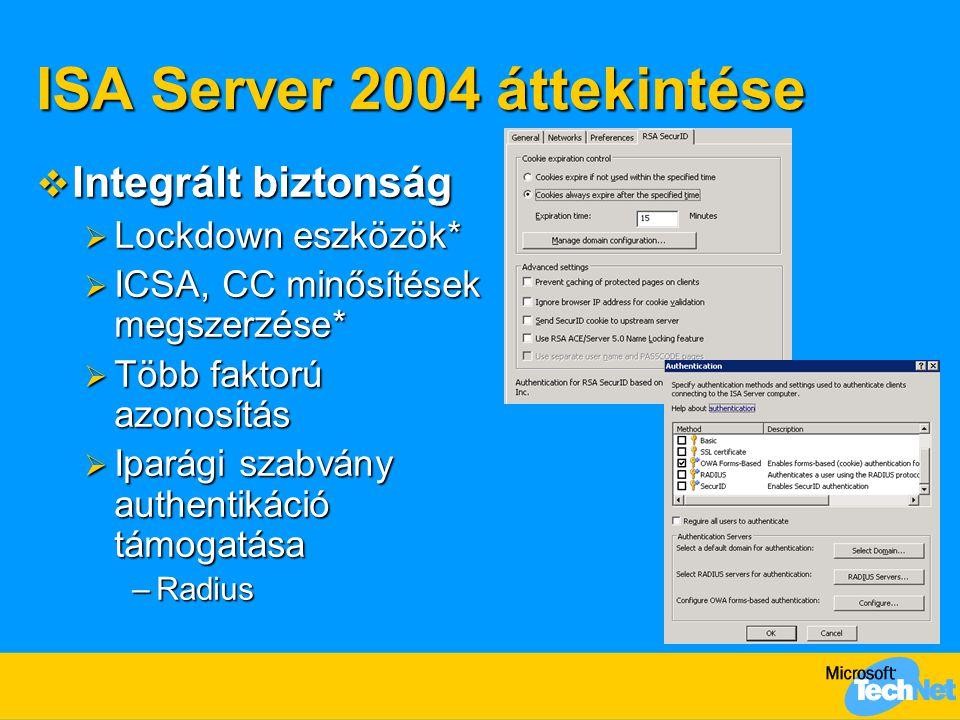 ISA Server 2004 áttekintése  Integrált biztonság  Lockdown eszközök*  ICSA, CC minősítések megszerzése*  Több faktorú azonosítás  Iparági szabván