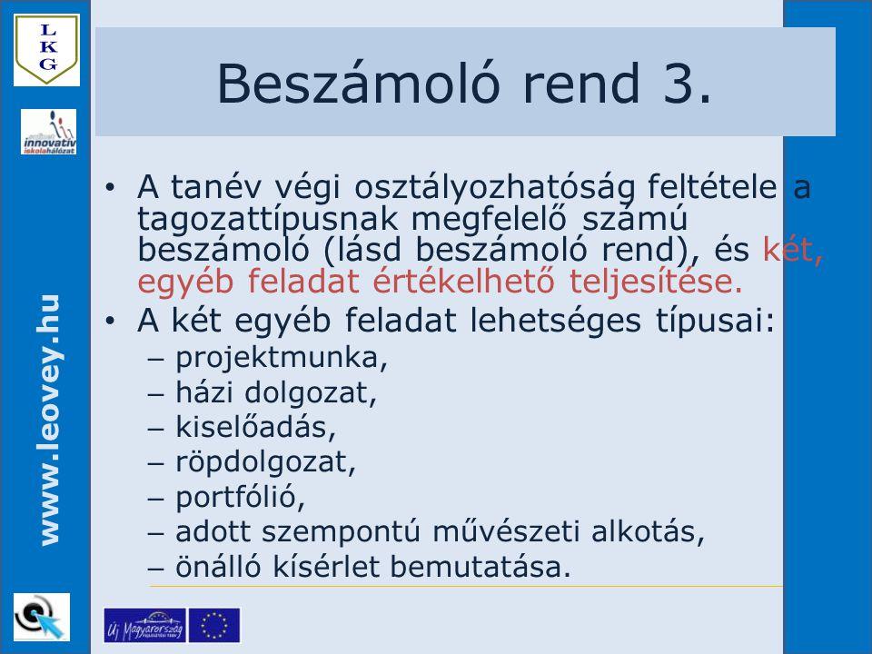 www.leovey.hu A tanév végi osztályozhatóság feltétele a tagozattípusnak megfelelő számú beszámoló (lásd beszámoló rend), és két, egyéb feladat értékel