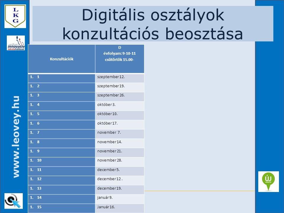 www.leovey.hu Digitális osztályok konzultációs beosztása Konzultációk D évfolyam: 9-10-11 csütörtök 15.00- 1.1szeptember 12. 1.2szeptember 19. 1.3szep