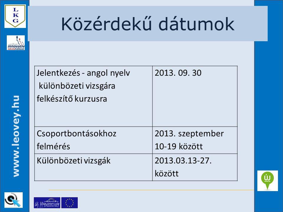 www.leovey.hu Közérdekű dátumok Jelentkezés - angol nyelv különbözeti vizsgára felkészítő kurzusra 2013. 09. 30 Csoportbontásokhoz felmérés 2013. szep