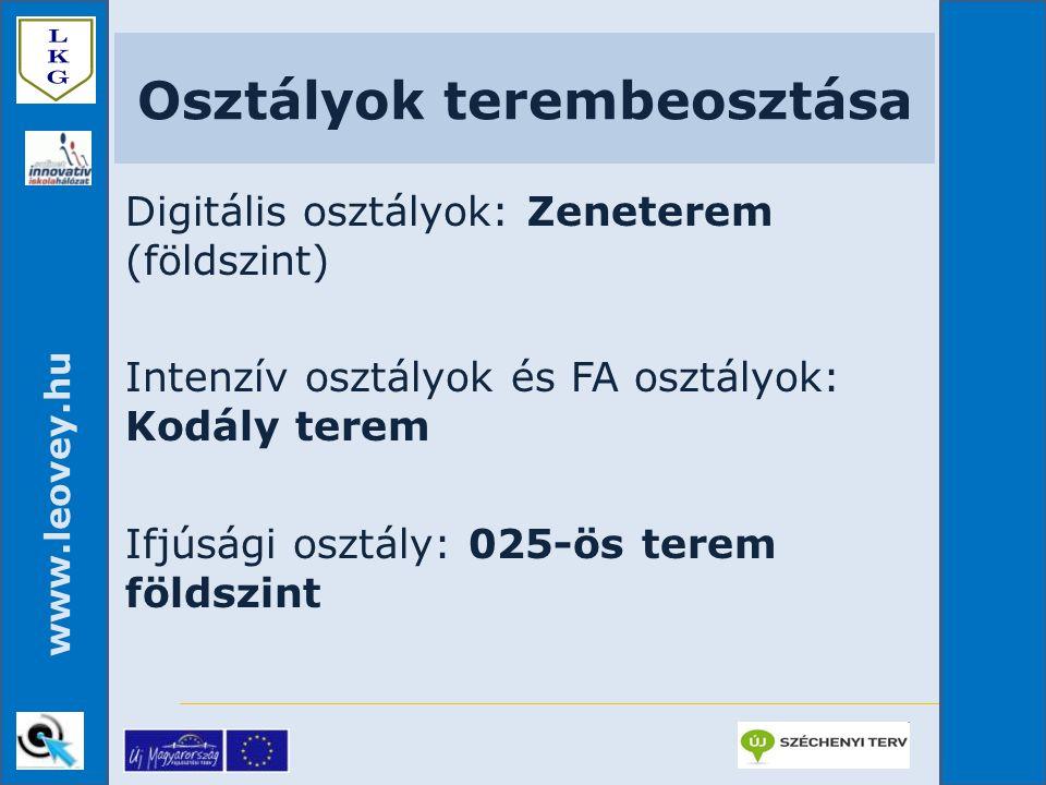 www.leovey.hu Osztályok terembeosztása Digitális osztályok: Zeneterem (földszint) Intenzív osztályok és FA osztályok: Kodály terem Ifjúsági osztály: 0