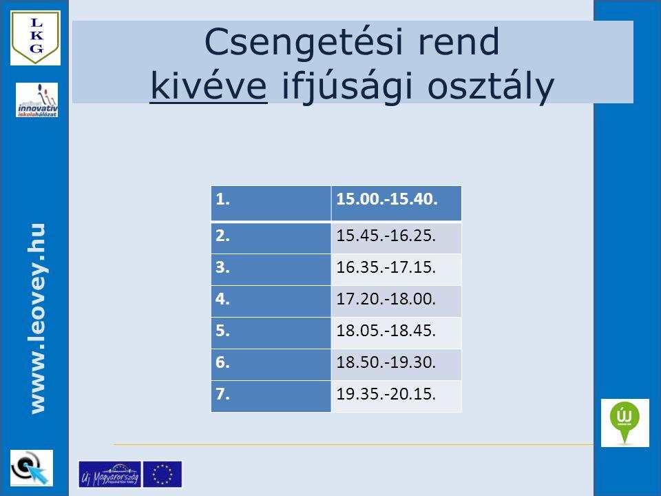 www.leovey.hu Csengetési rend kivéve ifjúsági osztály 1.15.00.-15.40. 2. 15.45.-16.25. 3. 16.35.-17.15. 4. 17.20.-18.00. 5. 18.05.-18.45. 6. 18.50.-19