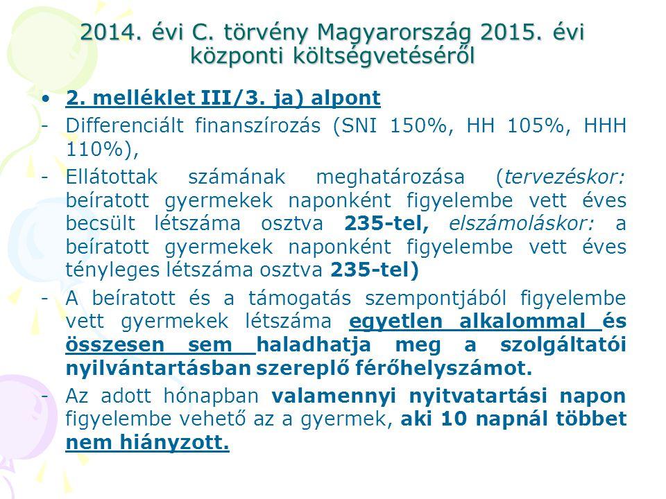 2014. évi C. törvény Magyarország 2015. évi központi költségvetéséről 2. melléklet III/3. ja) alpont -Differenciált finanszírozás (SNI 150%, HH 105%,