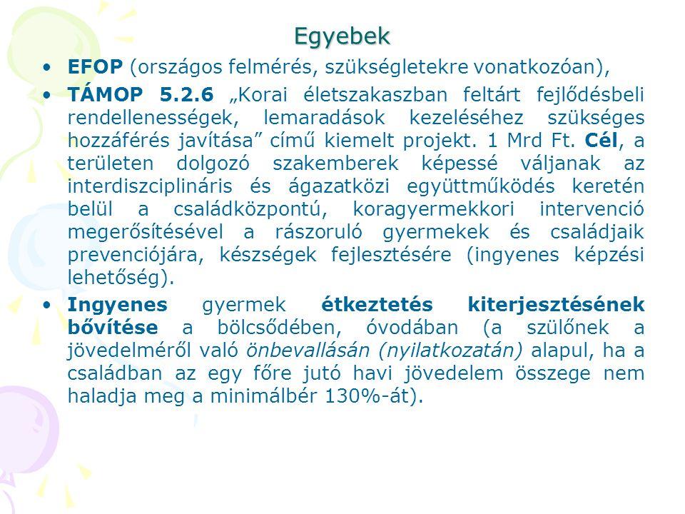 """Egyebek EFOP (országos felmérés, szükségletekre vonatkozóan), TÁMOP 5.2.6 """"Korai életszakaszban feltárt fejlődésbeli rendellenességek, lemaradások kez"""