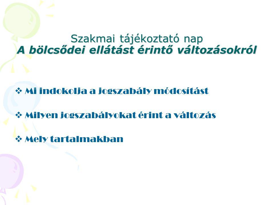 Szakmai tájékoztató nap A bölcsődei ellátást érintő változásokról  Mi indokolja a jogszabály módosítást  Milyen jogszabályokat érint a változás  Me