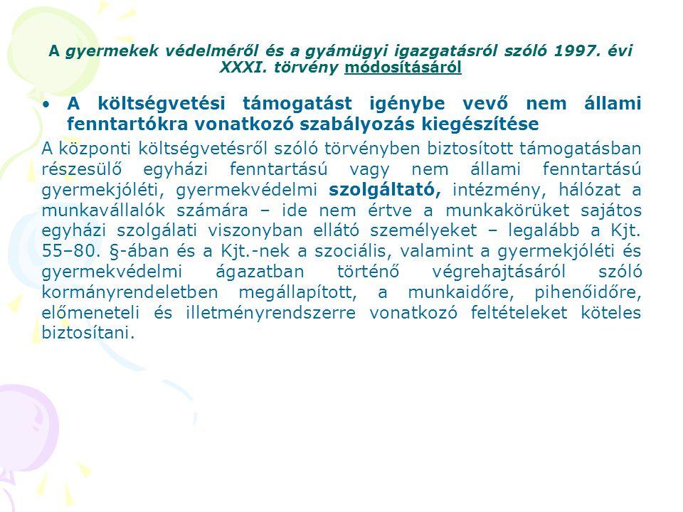 A gyermekek védelméről és a gyámügyi igazgatásról szóló 1997. évi XXXI. törvény módosításáról A költségvetési támogatást igénybe vevő nem állami fennt
