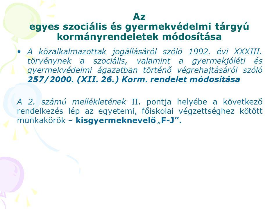 Az egyes szociális és gyermekvédelmi tárgyú kormányrendeletek módosítása A közalkalmazottak jogállásáról szóló 1992. évi XXXIII. törvénynek a szociáli