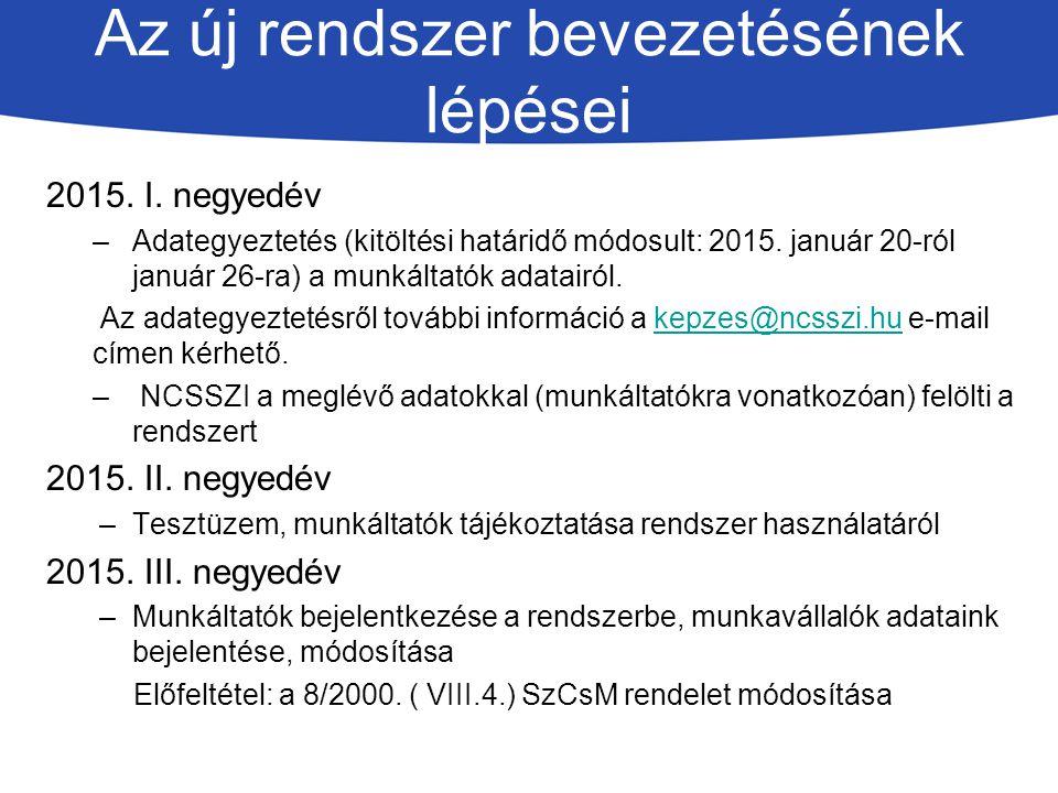Az új rendszer bevezetésének lépései 2015.I.