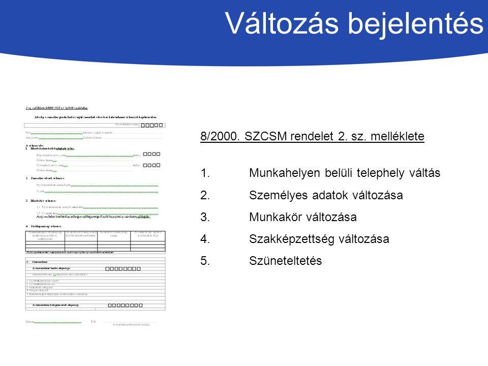Változás bejelentés 8/2000.SZCSM rendelet 2. sz.