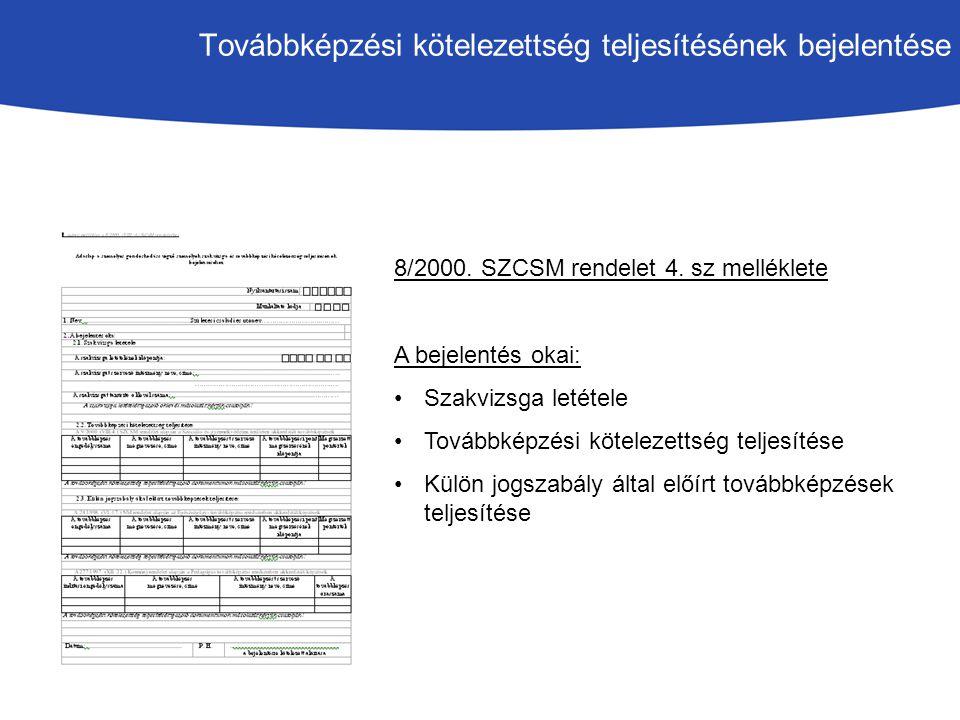 Továbbképzési kötelezettség teljesítésének bejelentése 8/2000.