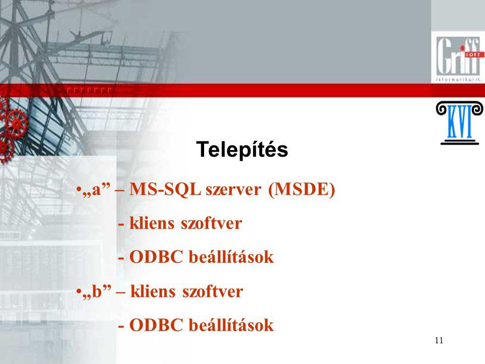 """11 Telepítés """"a"""" – MS-SQL szerver (MSDE) - kliens szoftver - ODBC beállítások """"b"""" – kliens szoftver - ODBC beállítások"""