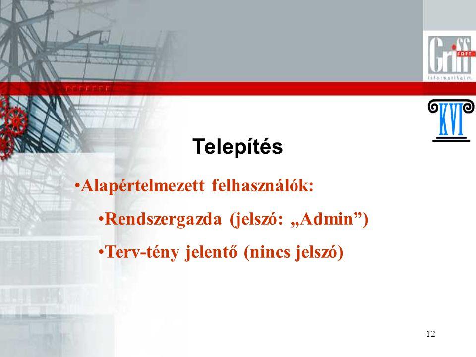 """12 Telepítés Alapértelmezett felhasználók: Rendszergazda (jelszó: """"Admin"""") Terv-tény jelentő (nincs jelszó)"""