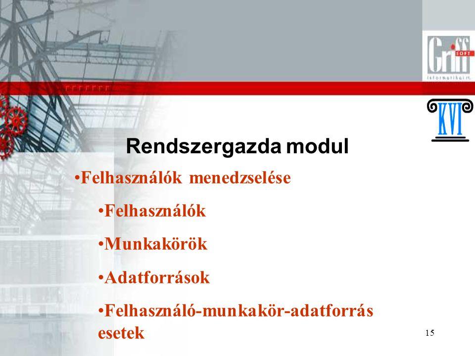 15 Rendszergazda modul Felhasználók menedzselése Felhasználók Munkakörök Adatforrások Felhasználó-munkakör-adatforrás esetek