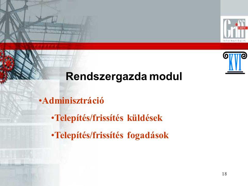 18 Rendszergazda modul Adminisztráció Telepítés/frissítés küldések Telepítés/frissítés fogadások
