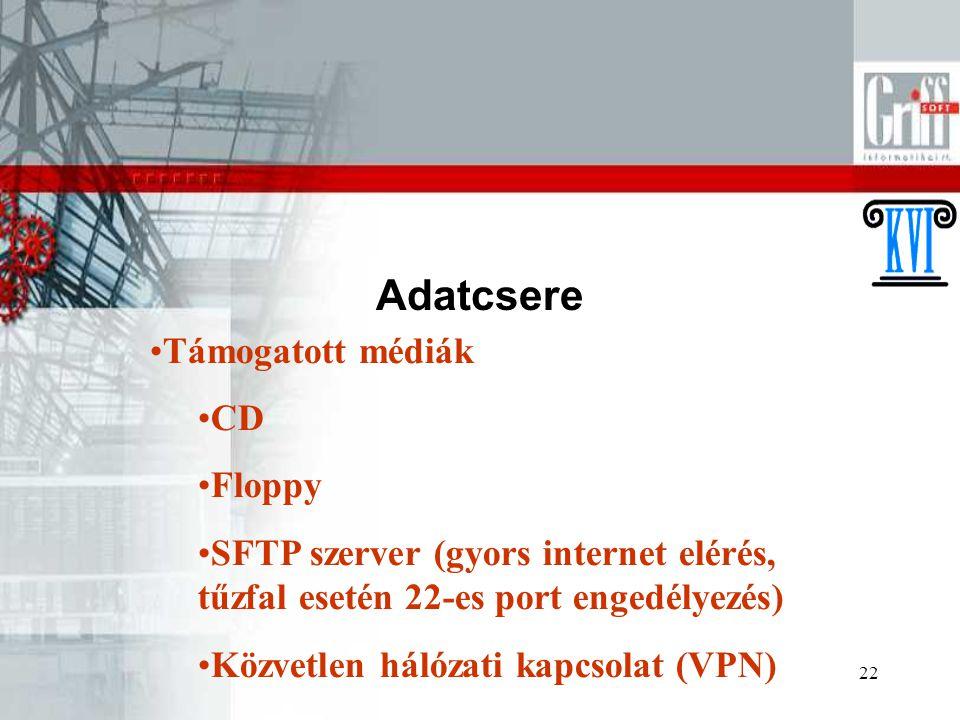22 Adatcsere Támogatott médiák CD Floppy SFTP szerver (gyors internet elérés, tűzfal esetén 22-es port engedélyezés) Közvetlen hálózati kapcsolat (VPN