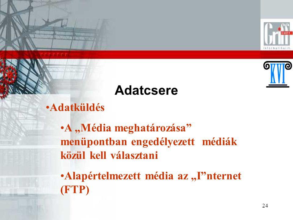 """24 Adatcsere Adatküldés A """"Média meghatározása"""" menüpontban engedélyezett médiák közül kell választani Alapértelmezett média az """"I""""nternet (FTP)"""