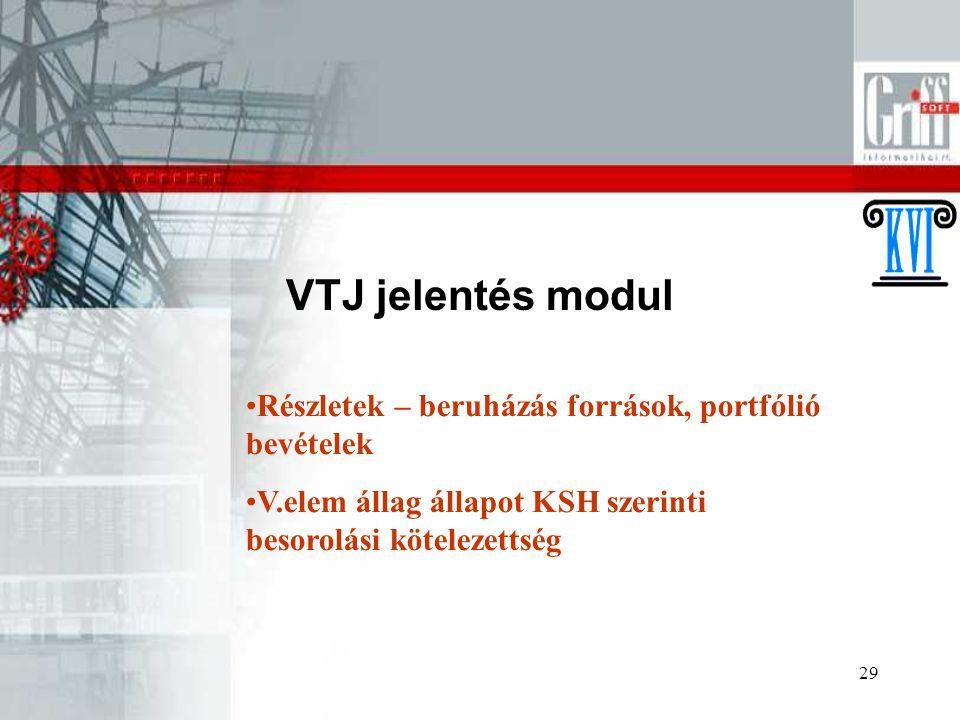 29 VTJ jelentés modul Részletek – beruházás források, portfólió bevételek V.elem állag állapot KSH szerinti besorolási kötelezettség