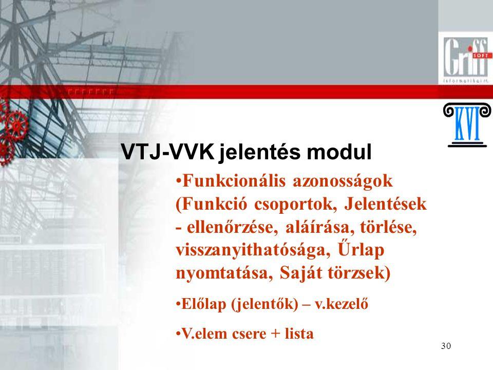 30 VTJ-VVK jelentés modul Funkcionális azonosságok (Funkció csoportok, Jelentések - ellenőrzése, aláírása, törlése, visszanyithatósága, Űrlap nyomtatá