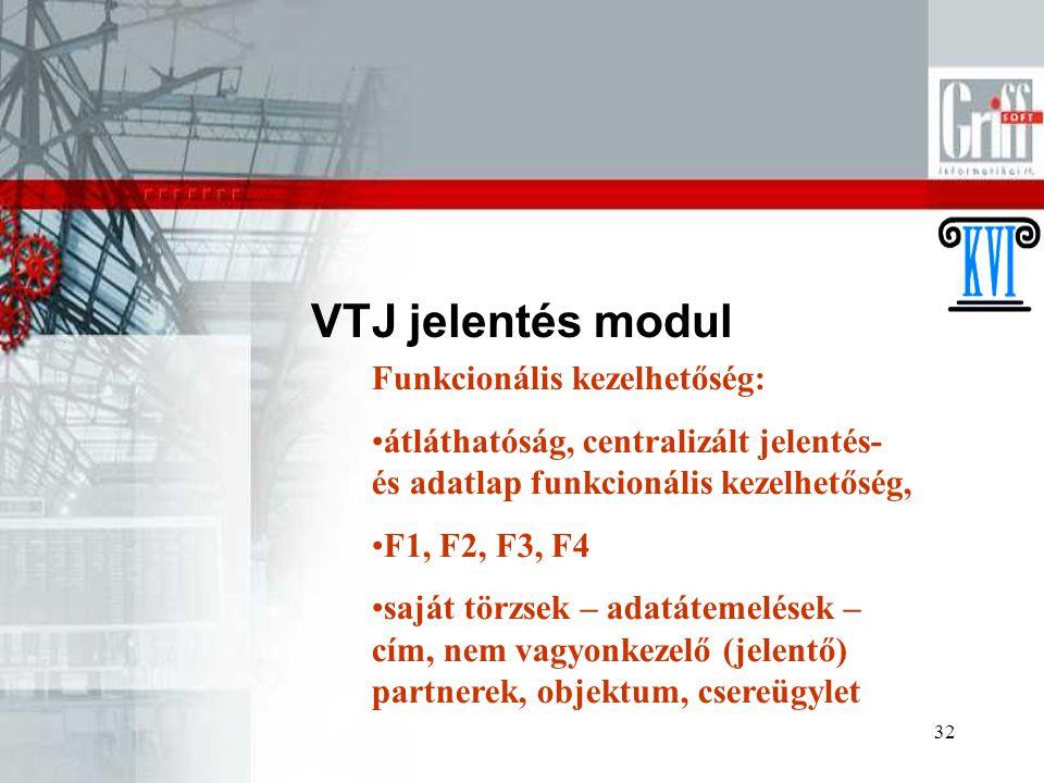 32 VTJ jelentés modul Funkcionális kezelhetőség: átláthatóság, centralizált jelentés- és adatlap funkcionális kezelhetőség, F1, F2, F3, F4 saját törzs