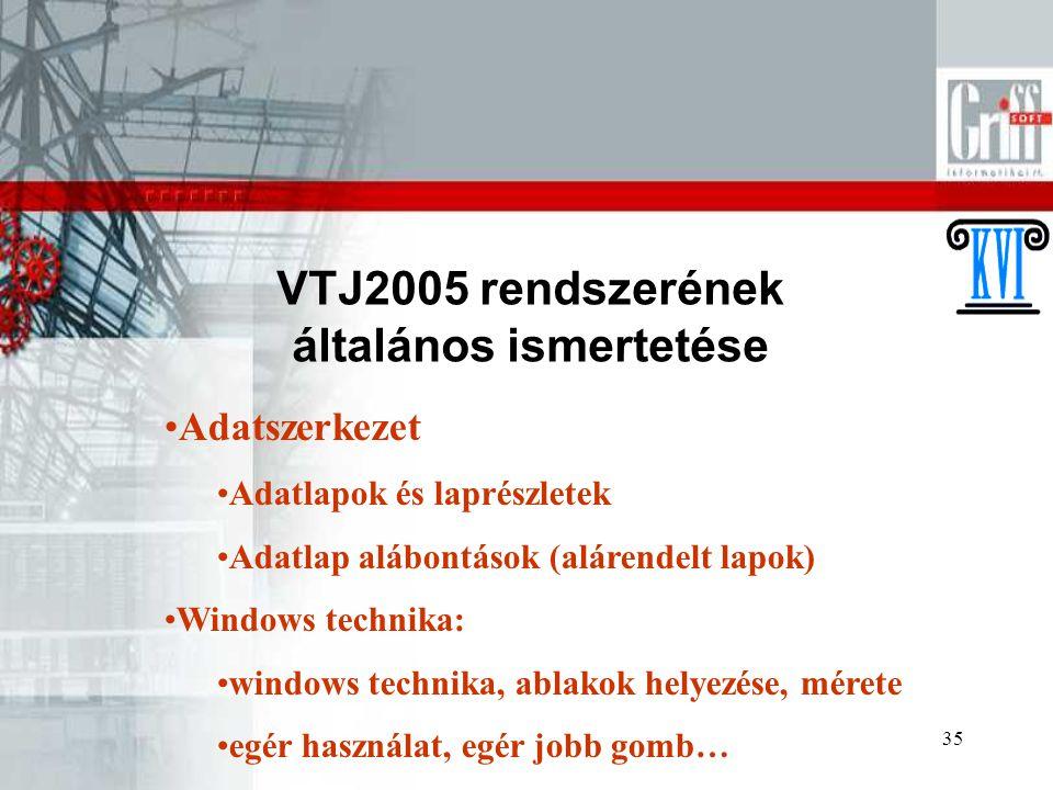 35 VTJ2005 rendszerének általános ismertetése Adatszerkezet Adatlapok és laprészletek Adatlap alábontások (alárendelt lapok) Windows technika: windows