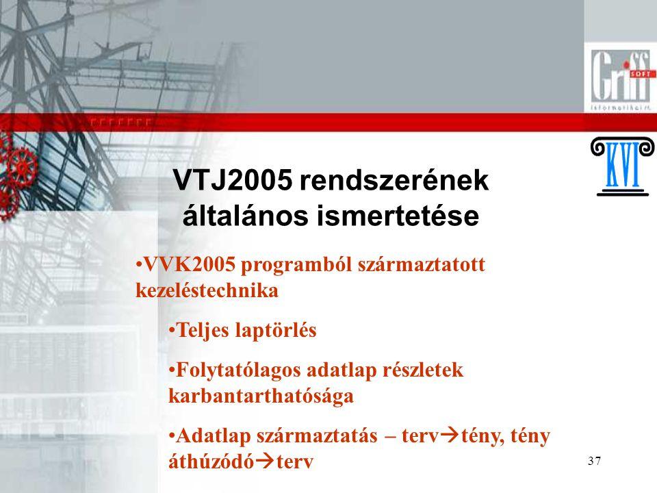 37 VTJ2005 rendszerének általános ismertetése VVK2005 programból származtatott kezeléstechnika Teljes laptörlés Folytatólagos adatlap részletek karban