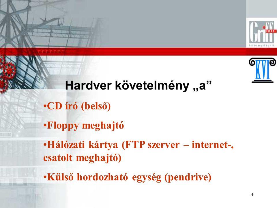 """4 Hardver követelmény """"a"""" CD író (belső) Floppy meghajtó Hálózati kártya (FTP szerver – internet-, csatolt meghajtó) Külső hordozható egység (pendrive"""