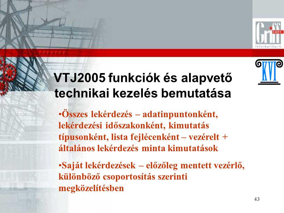 43 VTJ2005 funkciók és alapvető technikai kezelés bemutatása Összes lekérdezés – adatinpuntonként, lekérdezési időszakonként, kimutatás típusonként, l