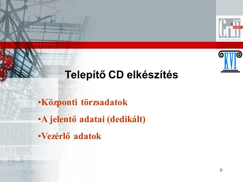 """10 Telepítés Rendszergazdai jogosultság CD automatikusan elindul """"a - meghajtó """"b – szerver neve - ForrasKVK felhasználó jelszava"""
