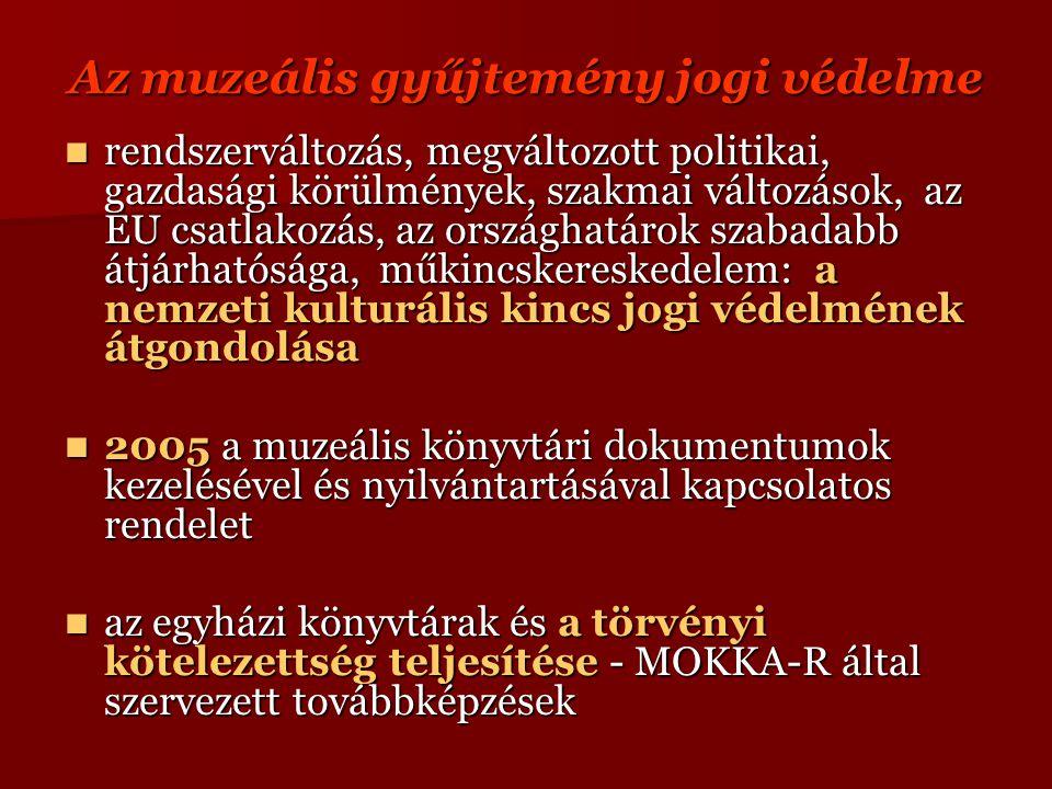 Az muzeális gyűjtemény jogi védelme rendszerváltozás, megváltozott politikai, gazdasági körülmények, szakmai változások, az EU csatlakozás, az országhatárok szabadabb átjárhatósága, műkincskereskedelem: a nemzeti kulturális kincs jogi védelmének átgondolása rendszerváltozás, megváltozott politikai, gazdasági körülmények, szakmai változások, az EU csatlakozás, az országhatárok szabadabb átjárhatósága, műkincskereskedelem: a nemzeti kulturális kincs jogi védelmének átgondolása 2005 a muzeális könyvtári dokumentumok kezelésével és nyilvántartásával kapcsolatos rendelet 2005 a muzeális könyvtári dokumentumok kezelésével és nyilvántartásával kapcsolatos rendelet az egyházi könyvtárak és a törvényi kötelezettség teljesítése - MOKKA-R által szervezett továbbképzések az egyházi könyvtárak és a törvényi kötelezettség teljesítése - MOKKA-R által szervezett továbbképzések