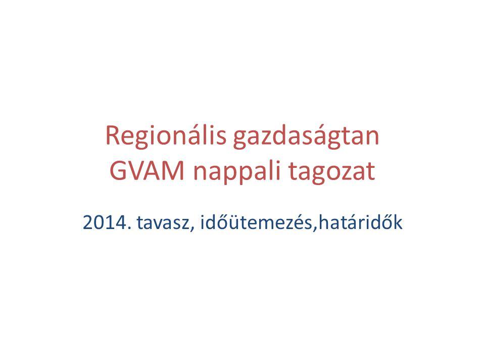 Regionális gazdaságtan GVAM nappali tagozat 2014. tavasz, időütemezés,határidők
