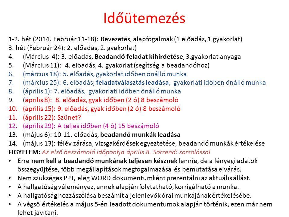 Időütemezés 1-2. hét (2014. Február 11-18): Bevezetés, alapfogalmak (1 előadás, 1 gyakorlat) 3.