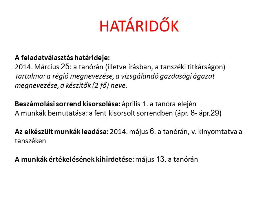 HATÁRIDŐK A feladatválasztás határideje: 2014.
