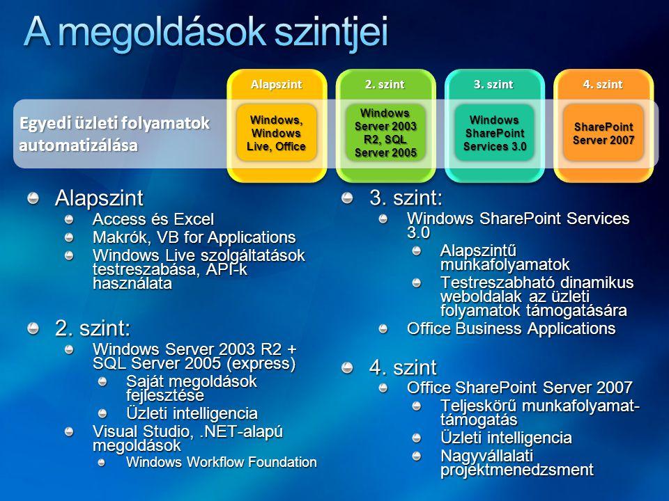 Alapszint Access és Excel Makrók, VB for Applications Windows Live szolgáltatások testreszabása, API-k használata 2. szint: Windows Server 2003 R2 + S