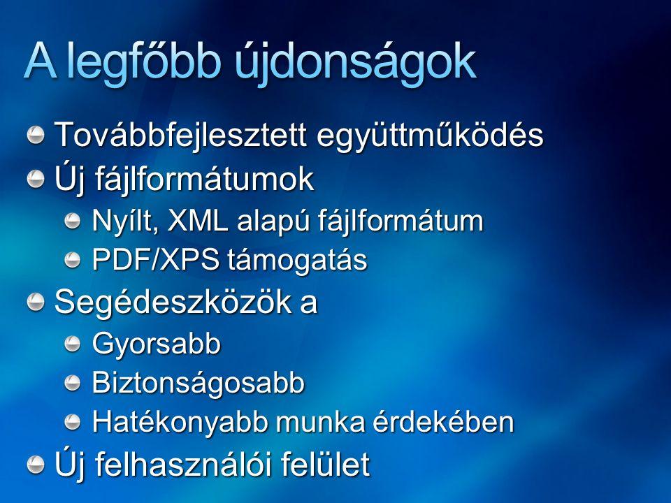 Továbbfejlesztett együttműködés Új fájlformátumok Nyílt, XML alapú fájlformátum PDF/XPS támogatás Segédeszközök a GyorsabbBiztonságosabb Hatékonyabb m