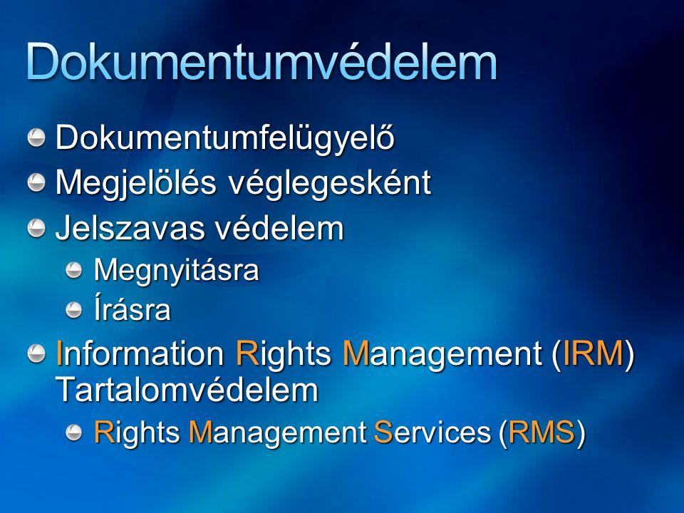 Dokumentumfelügyelő Megjelölés véglegesként Jelszavas védelem MegnyitásraÍrásra Information Rights Management (IRM) Tartalomvédelem Rights Management