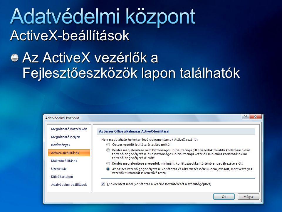 ActiveX-beállítások Az ActiveX vezérlők a Fejlesztőeszközök lapon találhatók