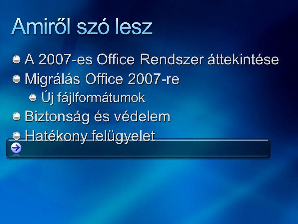 A 2007-es Office Rendszer áttekintése Migrálás Office 2007-re Új fájlformátumok Biztonság és védelem Hatékony felügyelet