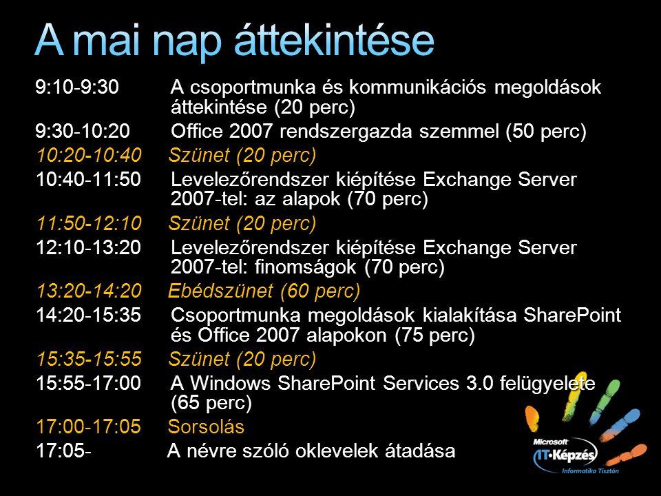 9:10-9:30 A csoportmunka és kommunikációs megoldások áttekintése (20 perc) 9:30-10:20Office 2007 rendszergazda szemmel (50 perc) 10:20-10:40 Szünet (2