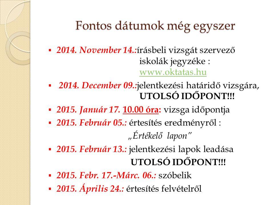 Fontos dátumok még egyszer  2014. November 14.: írásbeli vizsgát szervező iskolák jegyzéke : www.oktatas.huwww.oktatas.hu  2014. December 09.: jelen